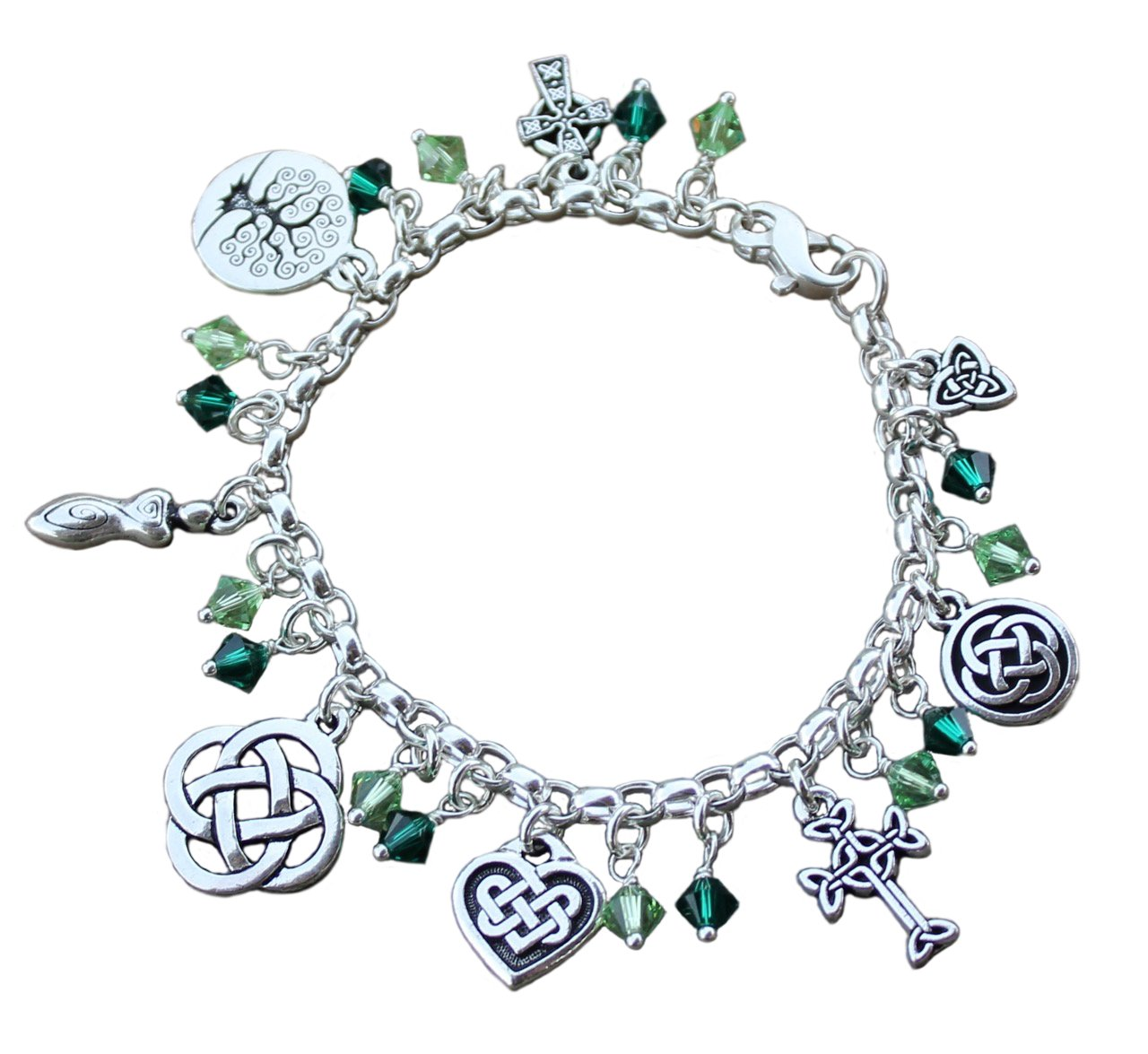 Silver Plated Deluxe Celtic Knots Charm Bracelet, Heavy Sterling Silver Chain, Green Crystals- Size Medium (7.5 Inches)