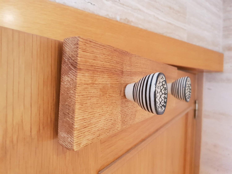 Perchero de puerta, de madera, con pomos de porcelana ...