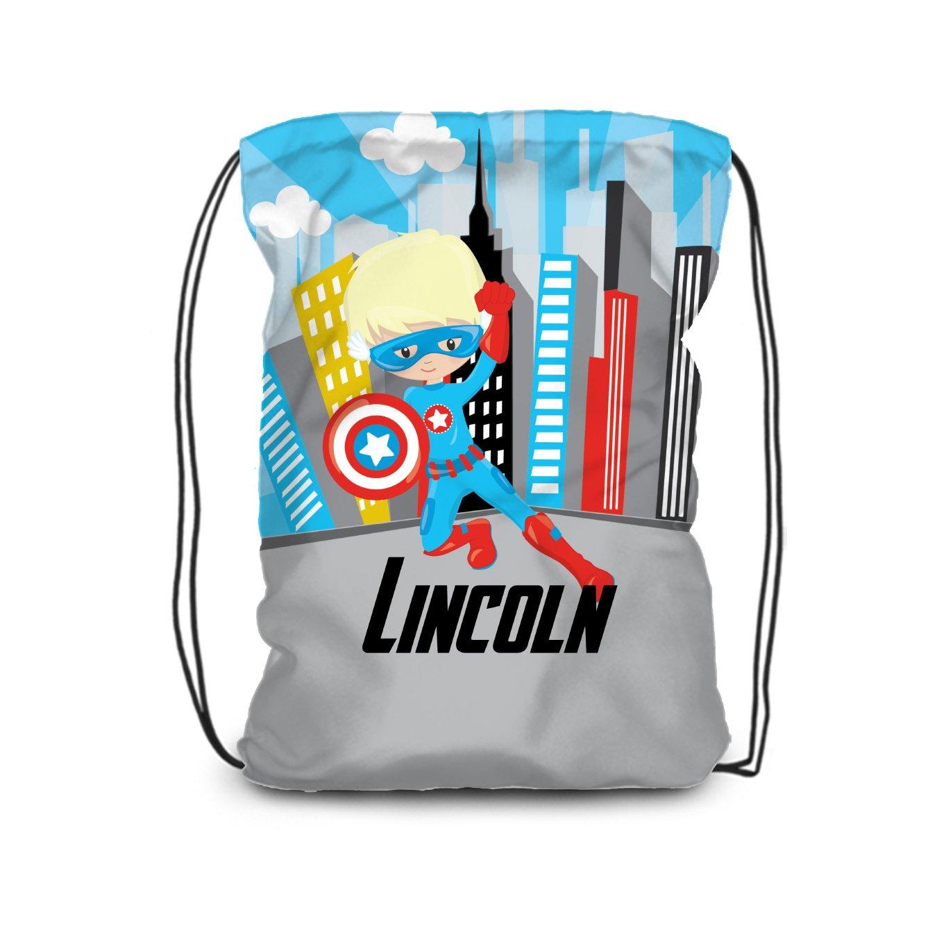 Superhero Drawstring Backpack - Big City Red Superhero Personalized Name Bag