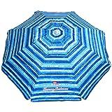 Tommy Bahama Sand Anchor Beach Umbrella SPF 100+ Sun Protection (Blue/White)