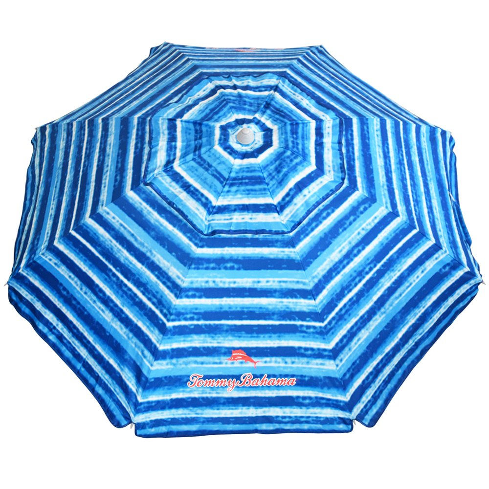 Tommy Bahama Sand Anchor Beach Umbrella SPF 100 Sun Protection (Blue/White)