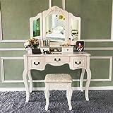 Blongang Vanity Set Tri-Folding Mirror Vanity Dressing Table Set with Stool 5 Drawers Bedroom Makeup Vanity Table Set ,Ivory White