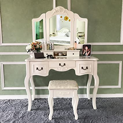 Blongang Vanity Table Set Tri Folding Mirror Vanity Dressing Table Set With  Stool 5 Drawers