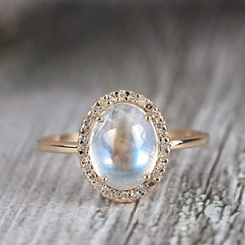 6cc28926c8ef1 Amazon.com: Solid 14k Yellow Gold Genuine Blue Moonstone Cocktail ...