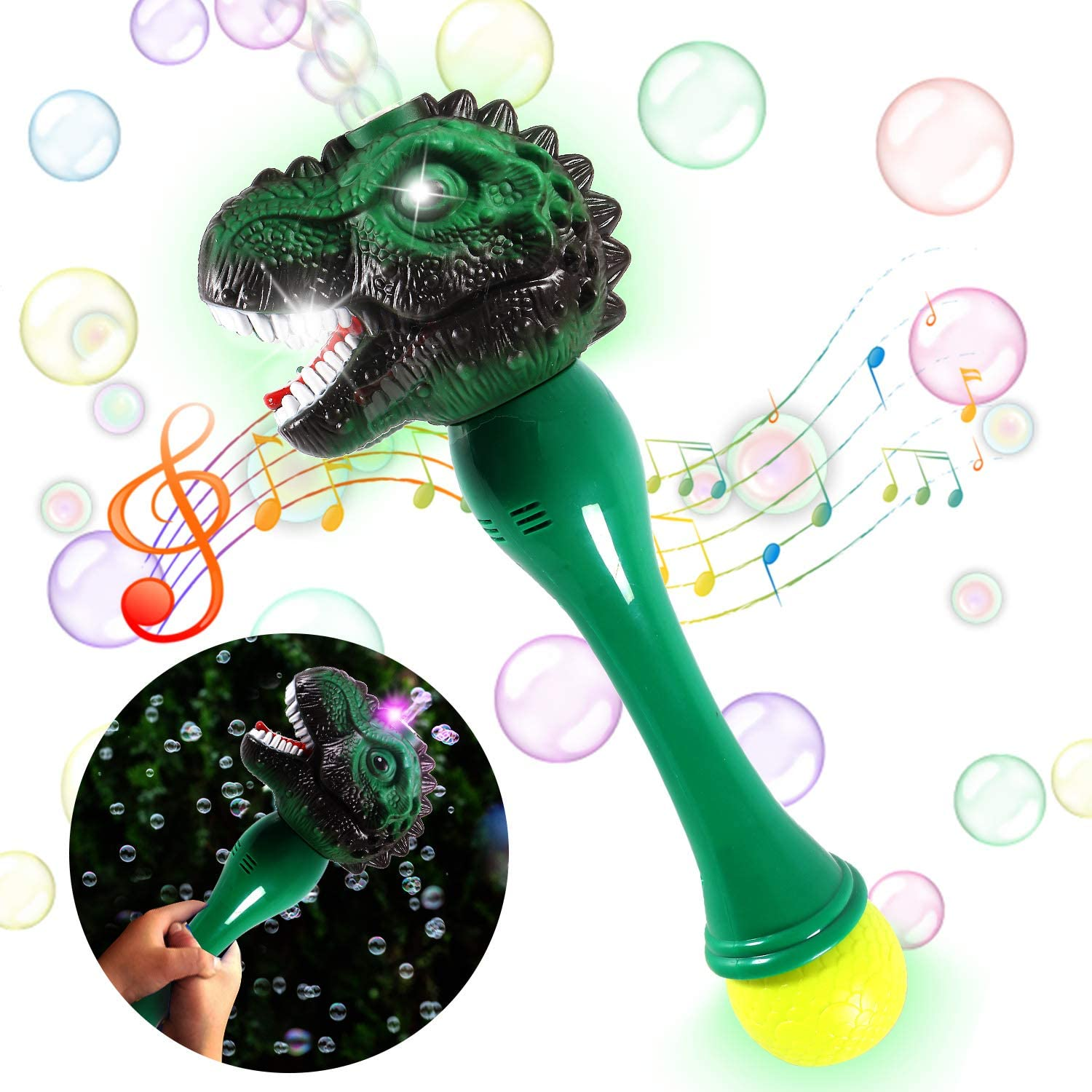 Bubble Machine Dinosaur Automatic Bubble Maker Bubble Wand Toys Light Up Bubbles Blower with LED Lights and Music Party Favors Supplies Birthday Gifts for Kids Boys Girls Children