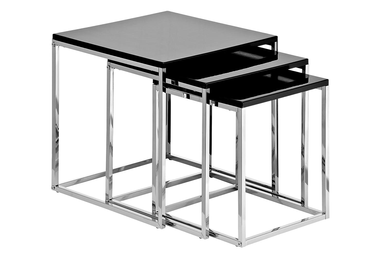 Premier Housewares Set di 3 tavolini da salotto con telaio cromato, 42 x 40 x 40 cm, colore: Bianco lucido 2402536