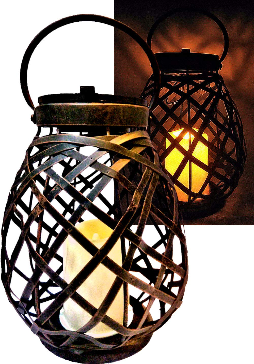 Brilliant & Mo Metal Rattan Solar Hanging Lanterns for Outdoors Garden Decoration with Flickering Candle Light For Home Patio Deck Lawn Yard Decor by BRILLIANT AND MO