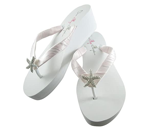 acb30e8e188e7 Amazon.com  Ice Blush Pink Wedge Flip Flops Rhinestone Starfish Wedding  Sandals in White or Ivory  Handmade