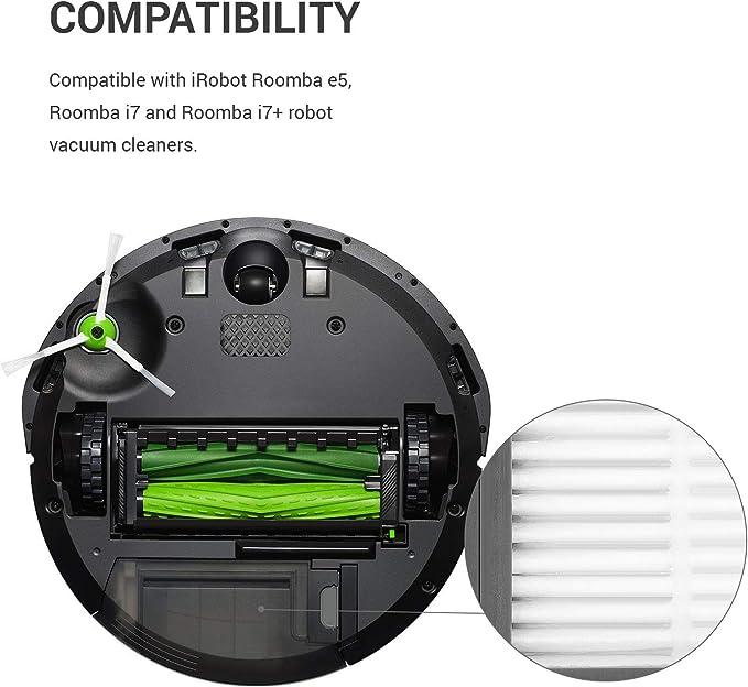 kwmobile Set de 3 filtros de Repuesto compatibles con Roomba - e5 / i7 / i7+ - Accesorios y recambios de filtros para Robot Aspirador: Amazon.es: Hogar