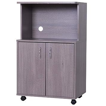 Miraculous Homcom Rolling Kitchen Trolley Microwave Cart 2 Door Cabinet Storage Shelves W Wheels Grey Download Free Architecture Designs Embacsunscenecom