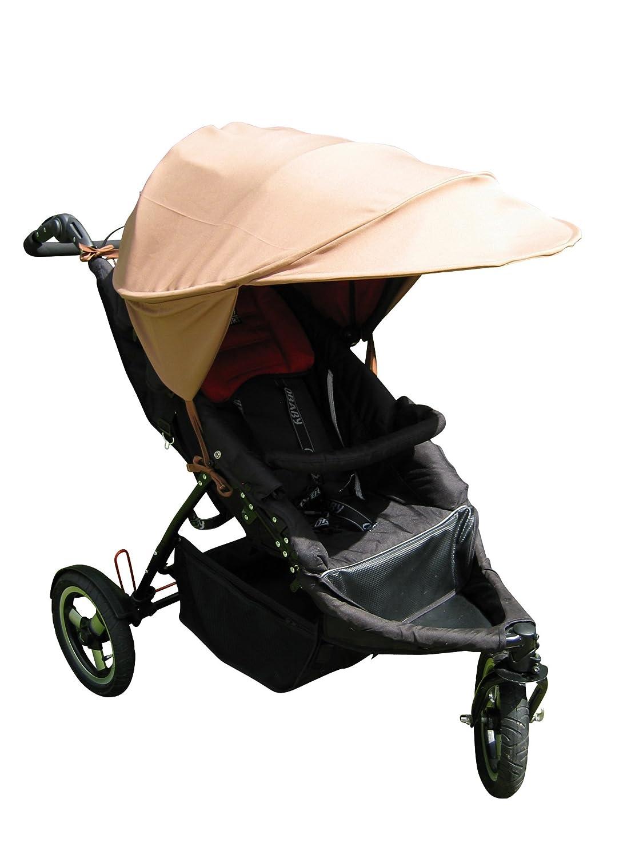 Sonnenschutz Sonnendach Sonnensegel Sonnenverdeck Sonnette® PLUS single UPF 80+ für Kinderwagen (TOFFEE) Sonnette Design GmbH