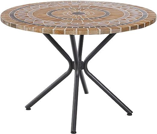 Ozalide Mesa redonda de jardín (4 personas Marsella – Diam. 110 cm – marrón: Amazon.es: Hogar