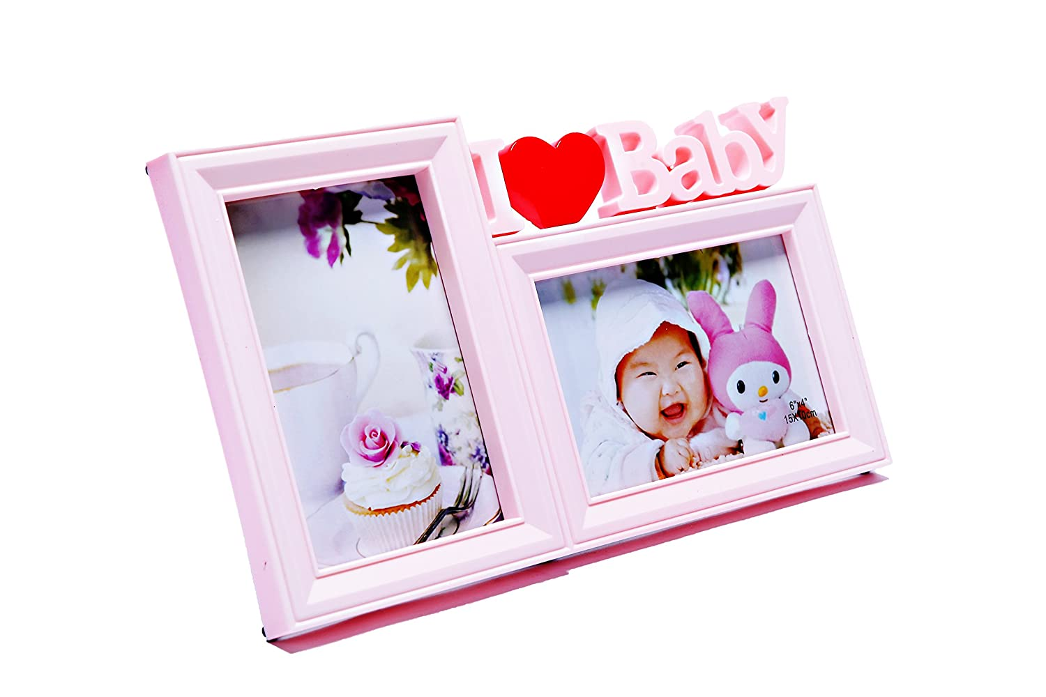 fit Two 4x6 in Size Photos Pink Shower Gift Sweet US Mall Premium Plastic Double Photo Frame,I Love Baby Home Decoration
