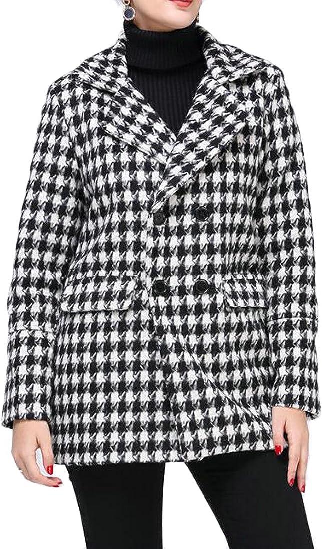 WANSHIYISHE-Women Classic Houndstooth Lapel Double Breasted Wool Blend Long Pea Coat