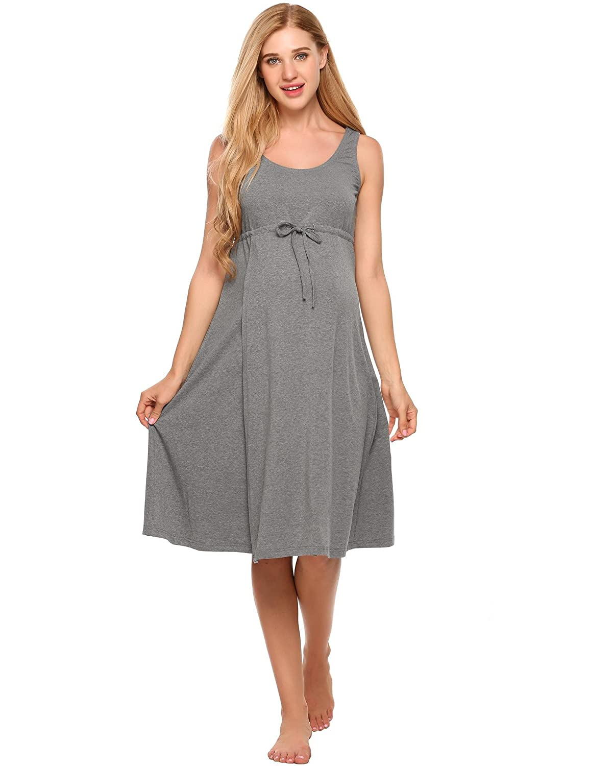 0dc89ea0a6b Women sleeveless nightgown features pull-aside nursing access openings for  breastfeeding