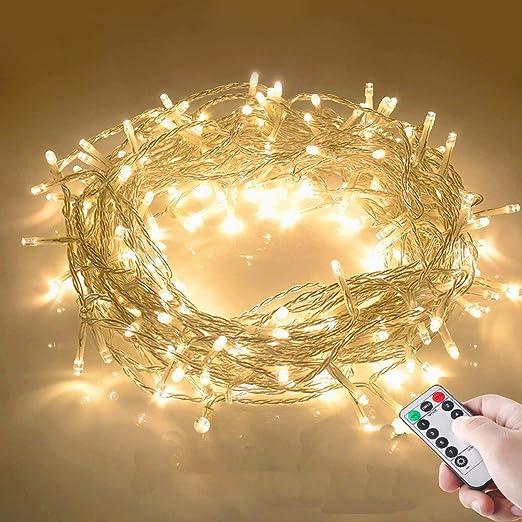 Lichterkette LED Lichterkette außen 100 LED warmweiss mit Fernbedienung Weihnach