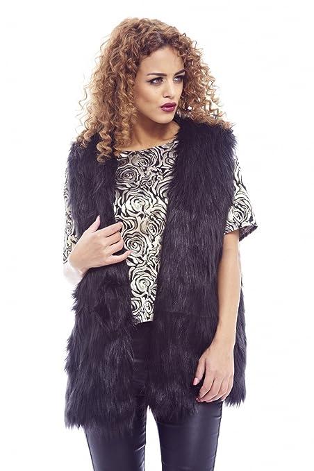 Amazon.com: AX Paris de la mujer Llanura Fur Gillet PU Back ...