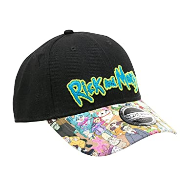 Rick   Morty Cap Sublimated Print Curved Bill Cap Black  Amazon.co ... e325da547cc1
