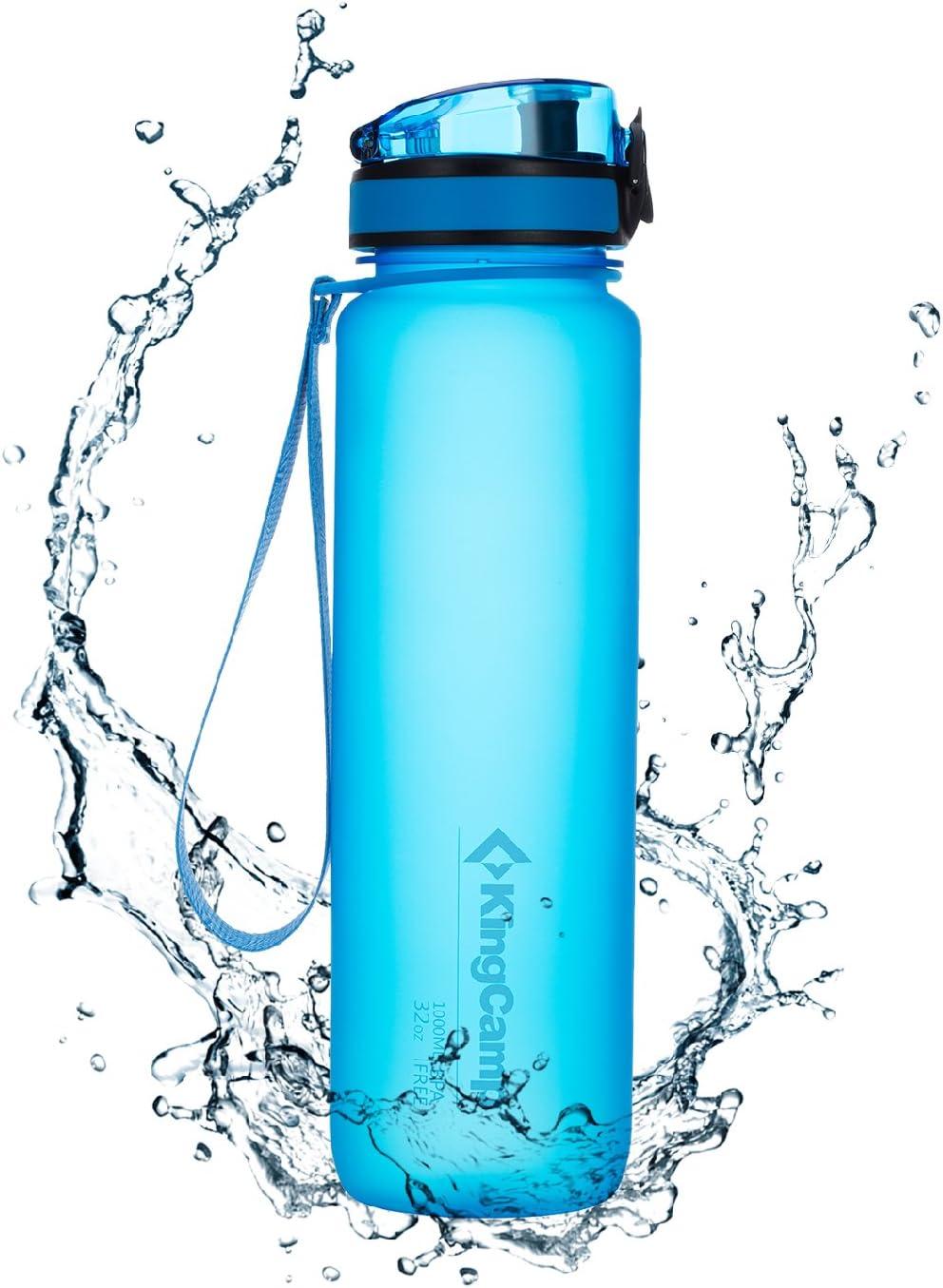 KingCamp Botella de Agua Deportiva Bicicleta para Niños Plástico Impermeable y Reutilizable 500ml/650ml/1000ml sin BPA