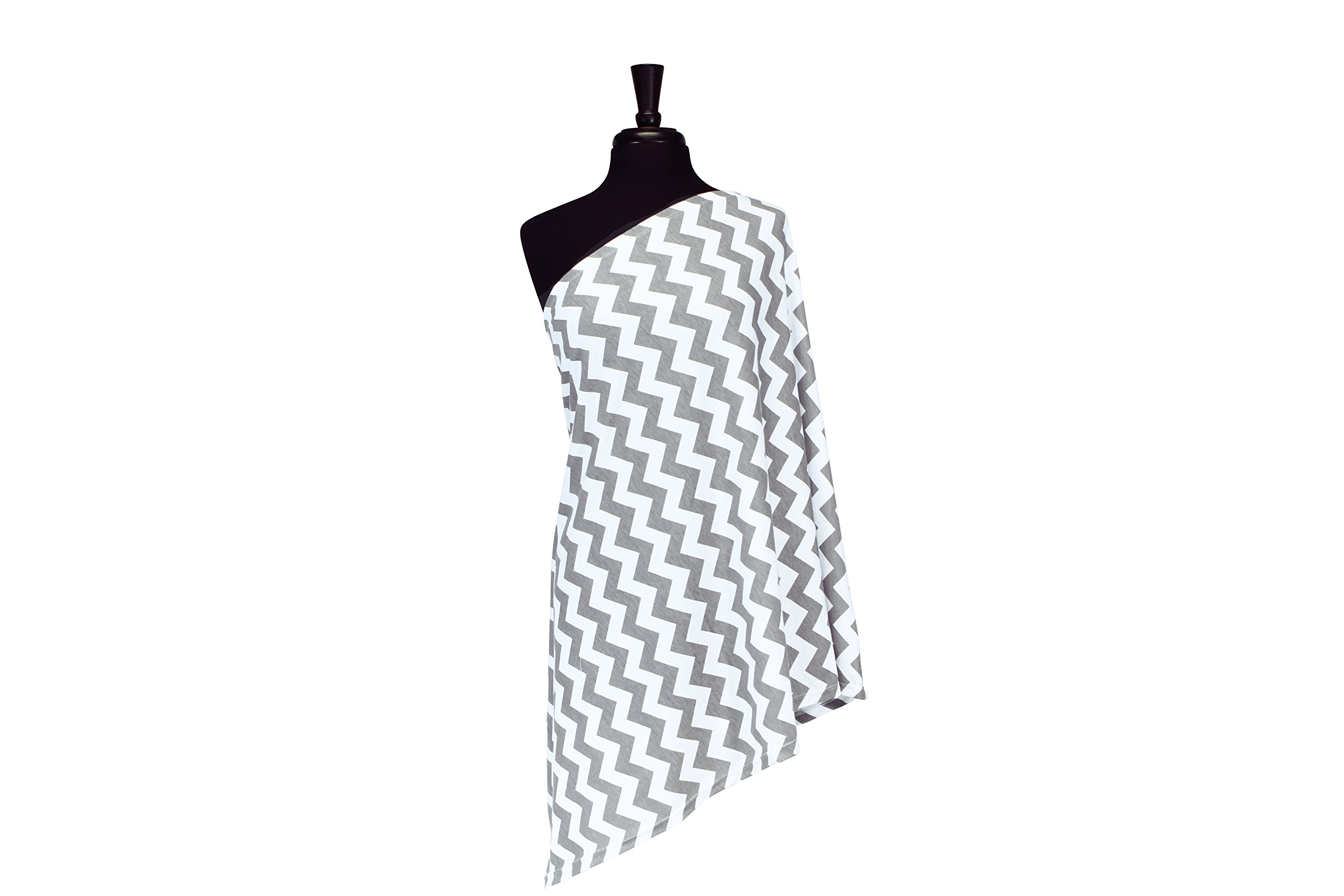 Itzy Ritzy Breastfeeding Cover and Infinity Nursing Scarf - Nursing Cover Can Be Worn as a Scarf and Provides Full Coverage While Nursing Baby, Gray Chevron
