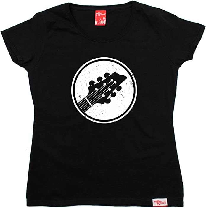Guitar Circle Design WOMENS T-SHIRT Band Bass Acoustic Funny birthday gift