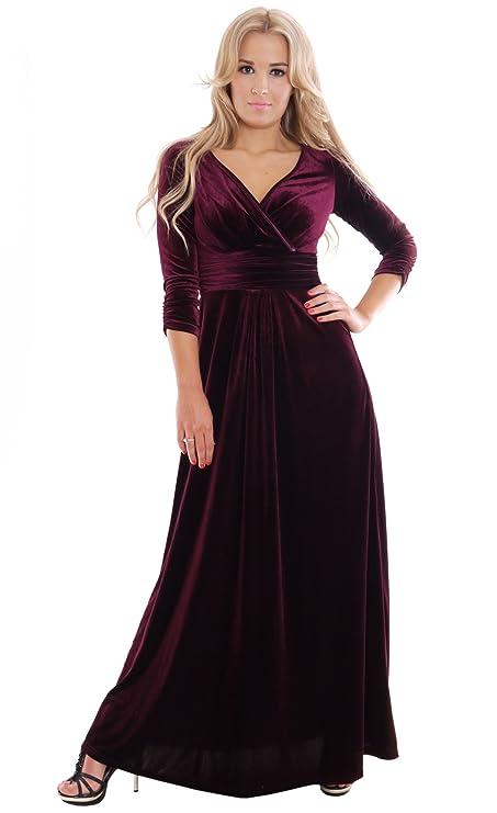 montyq elegante para vestido de noche Theater Concierto de la Fiesta Vestido, Terciopelo, Color Rojo Burdeos con elástico, longitud total: 145 cm, 3/4 Arm, ...