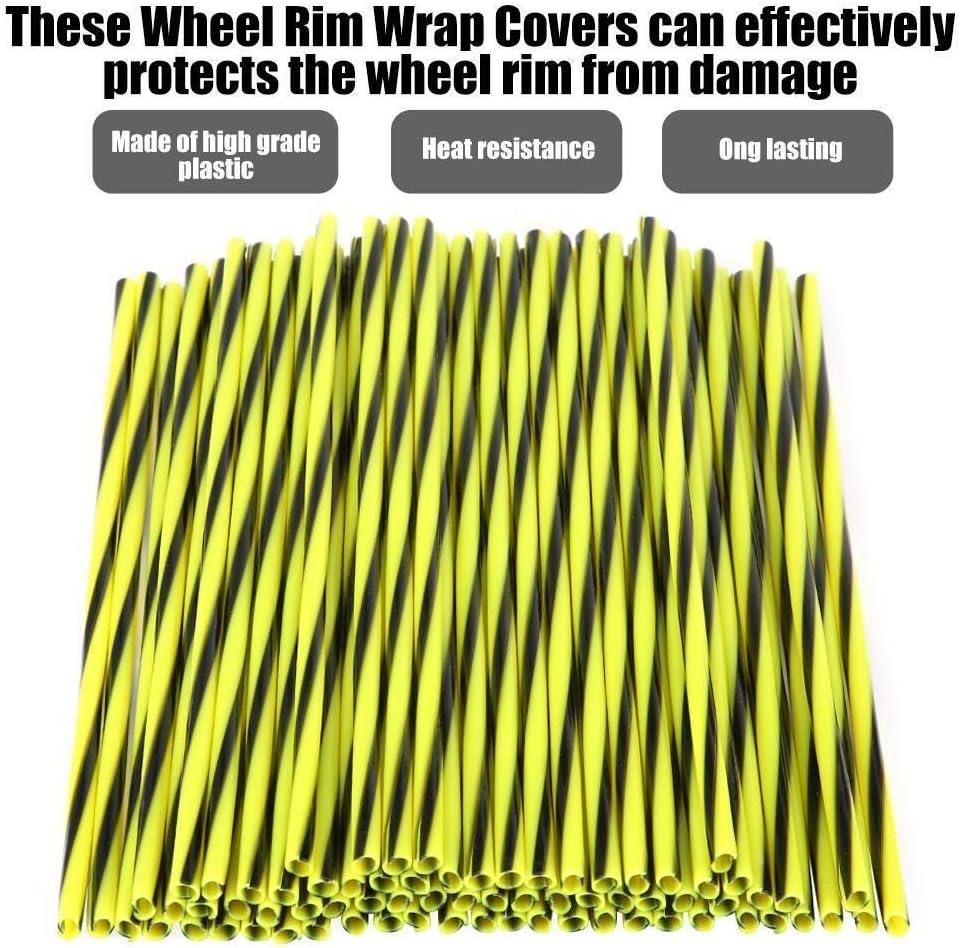 Enrilior 72pcs Motorcycle Dirt Bike Wheel Rim Cover Spoke Skins Wrap Tubes Fluorescence /& Black
