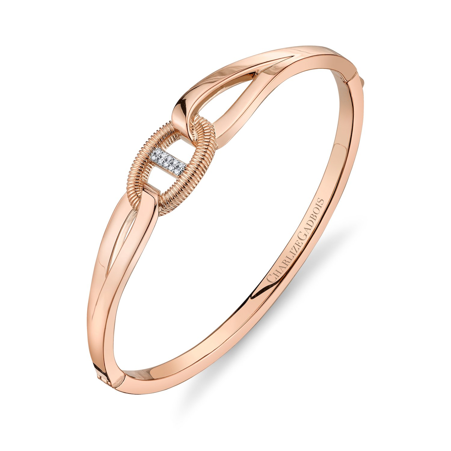 CHARLIZE GADBOIS 925 Sterling Silver Diamond Center Buckle Cuff Bangle Bracelet, Rose Gold Plated