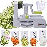Brieftons 5-Blade Spiralizer (BR-5B-02): Strongest-and-Heaviest Duty Vegetable Spiral Slicer, Best Veggie Pasta Spaghetti Mak