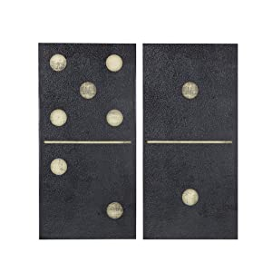 Ink+Ivy, Two Black Dominos Wall Art 2 Pieces Gel Coated Canvas, Easy Hang Setup, Modern Contemporary Design, Las Vegas Gaming Domino Tiles Painting Living Room Décor, Black/Gold, 18 x 36 x 1.5