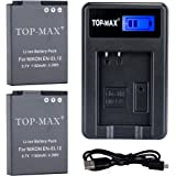 TOP-MAX (2-Pack) EN-EL12 Battery + USB Charger for Nikon Coolpix P300 P310 P330 P340 P3000 S31 S70 S610 S620 S630 S640 S800c S1000pj S1100pj S1200pj S6000 S6100 S6150 S6200 S6300 S8000 S8100 S8200 S9050 S9100 S9200 S9300 S9400 S9500 S9600 S9700 S9900 AW100 AW100s AW110 AW110s AW120 AW120s AW130 Digital Camera