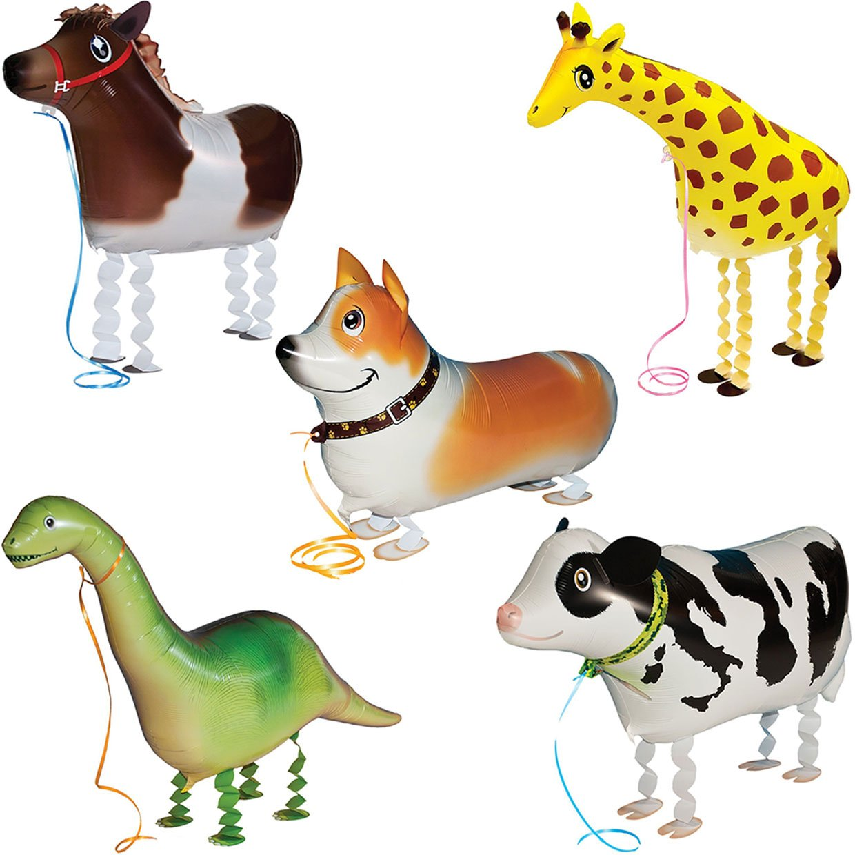 5pcs Walking Pet Animal Balloons Kids toys Party Favors Gifts for Girls Air Walker group-F by Merveilleux (Image #1)