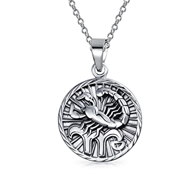 medallion etsy vintage pewter necklace scorpio pendant il search