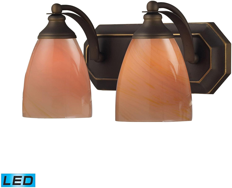 Elk 570 – 2b-sy-led、Vanity手吹きガラス壁Vanity照明、2ライトLED、Aged Bronze B00BSR53LA