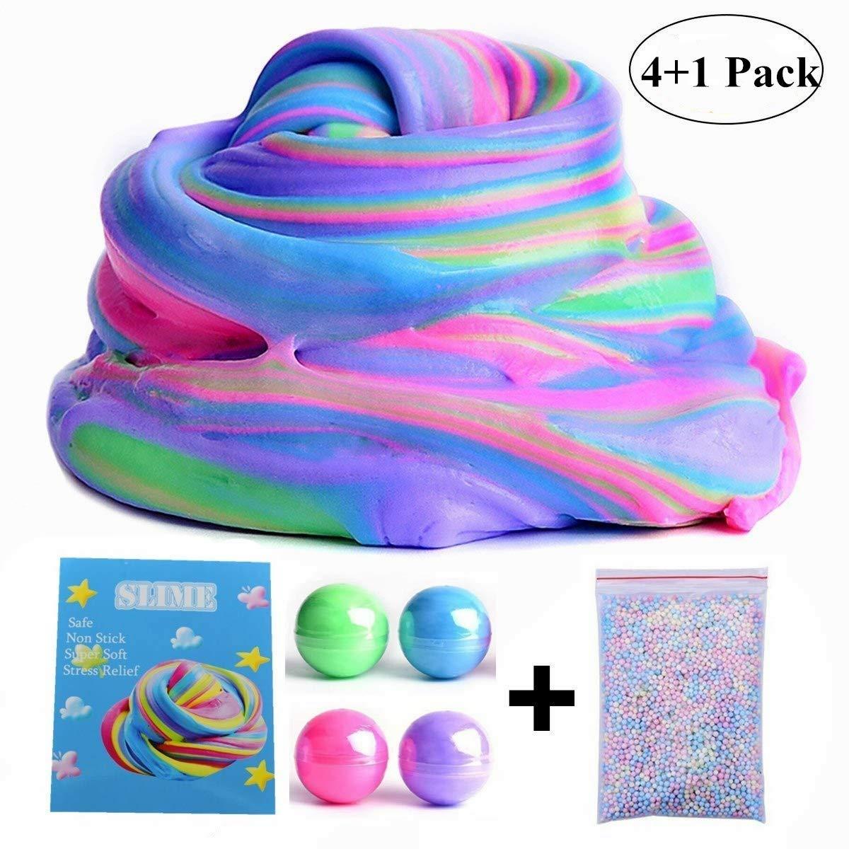 Fluffy Slime, fai-da-te Fluffy Slime Soft Kids Slime Fango Fango giocattolo Giocattolo sensoriale non tossico Fluffy Floam Slime Fragranza Fragranza Giocattolo antistress per bambini, Super Soft non appiccicoso (4 colori) Hongyantech