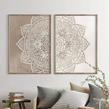 xwwnzdq 2 Piezas Mandala Arte de la Pared Pintura de la Lona ...