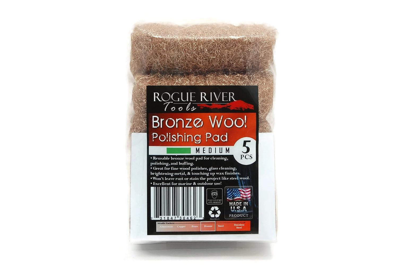 5 Rogue River Tools Bronze Wool Pads Medium
