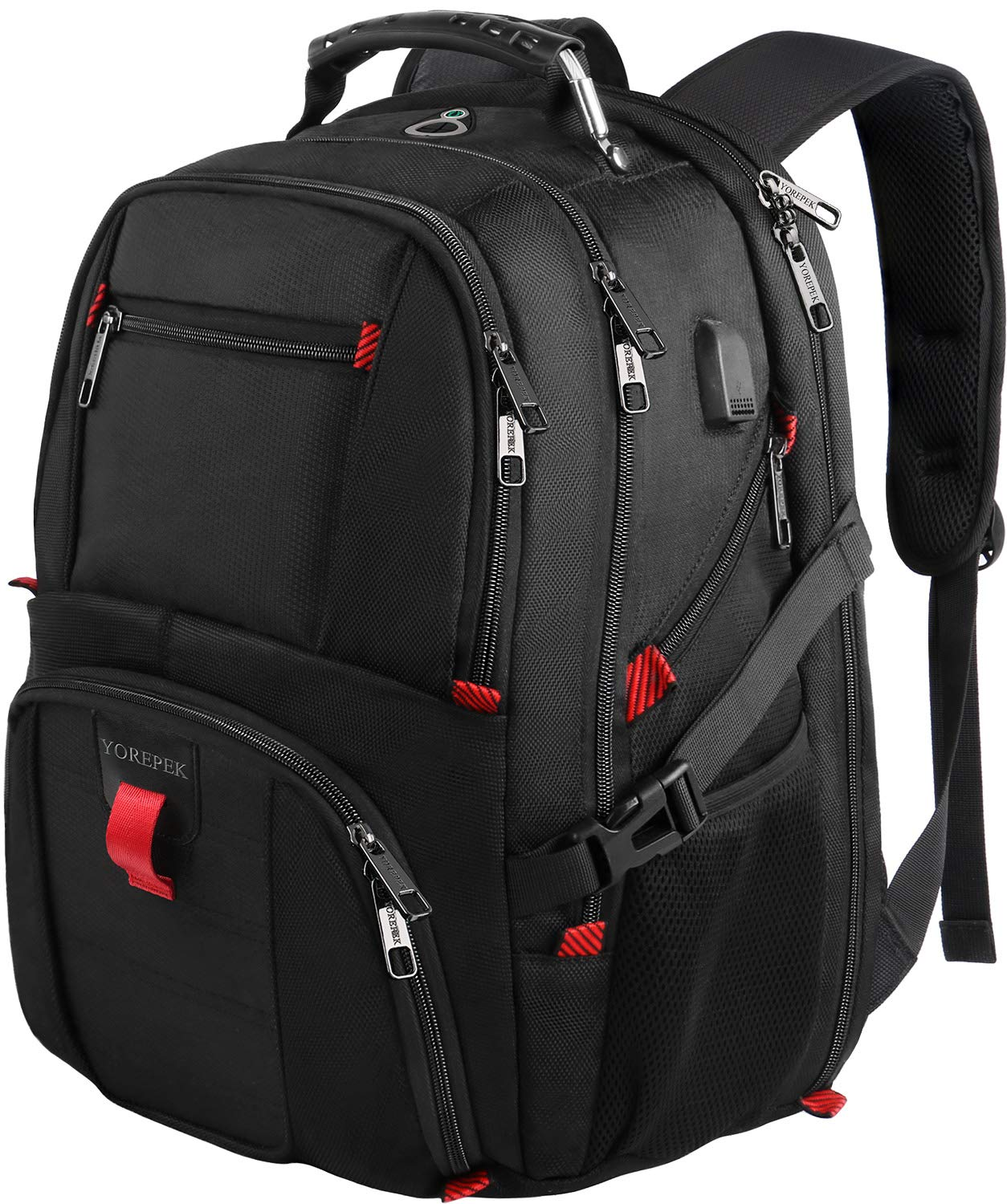 YOREPEK 18.4 Laptop Backpack,Large Computer Backpacks Fit Most 18 Inch Laptop with USB Charger Port,TSA Friendly Flight Approved Weekend Carry on Backpack with Luggage Strap for Men and Women-Black by YOREPEK