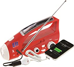ER Ready de emergencia 6 N/hand-crank Solar Powered linterna LED de emergencia y radio AM/FM