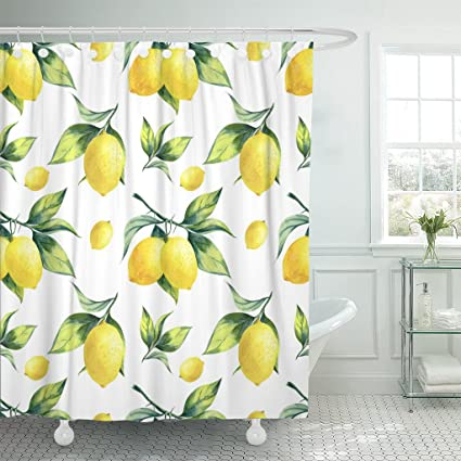 TOMPOP Shower Curtain Watercolor Fruit Lemon Pattern On White Colorful Tree Botanical Waterproof Polyester Fabric 72