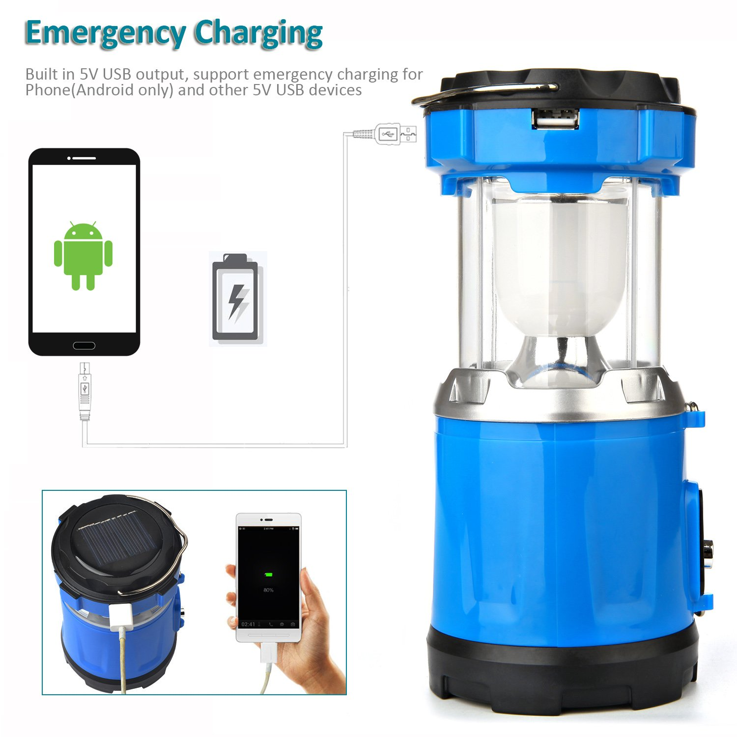 Camping Lantern Light, IRuiYinGo Rechargeable Lamp Solar LED Flashlight with Hanging Blue Color, Great light for Camping/ Hiking/ Backpacking...Outdoor Activities by IRuiYinGo (Image #5)
