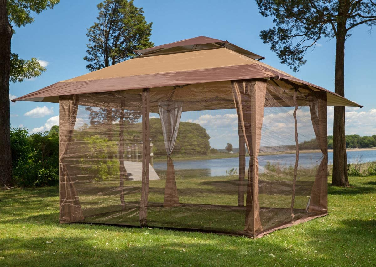 Sunjoy S-GZ001-E-MN 10' x 10' Mosquito Netting Panels for Gazebo Canopy,Brown