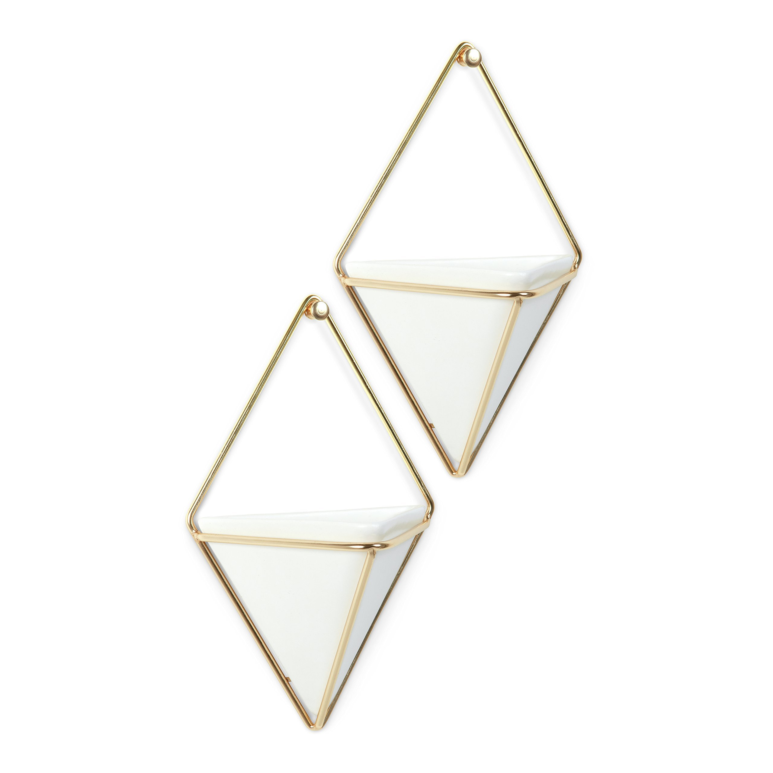 Umbra Trigg Hanging Planter Vase & Geometric Wall Decor Container - Great for Succulent Plants, Air Plant, Mini Cactus, Faux Plants and More, White Ceramic/Brass (Set of 2) by Umbra