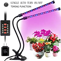 Grow Light for Indoor Plants, 2018 Latest Timing Function (Auto ON/OFF) with 36 LED (18W) Dual Head Clamp Clip Plant lamp, Adjustable Flexible 360° Gooseneck, 3 Working Modes, 5 Dimmable Levels for Hydroponics Greenhouse Gardening Seeding Growing(Adapter Included)