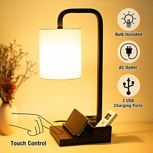 3-Way Touch Control Dimmable Table Lamp Modern Nightstand Lamps, with 2 USB Charging Ports, Fabric Round Lampshade, 100 W Equivalent Vintage LED Bulb Included, Suitable for Bedroom Living Room Office