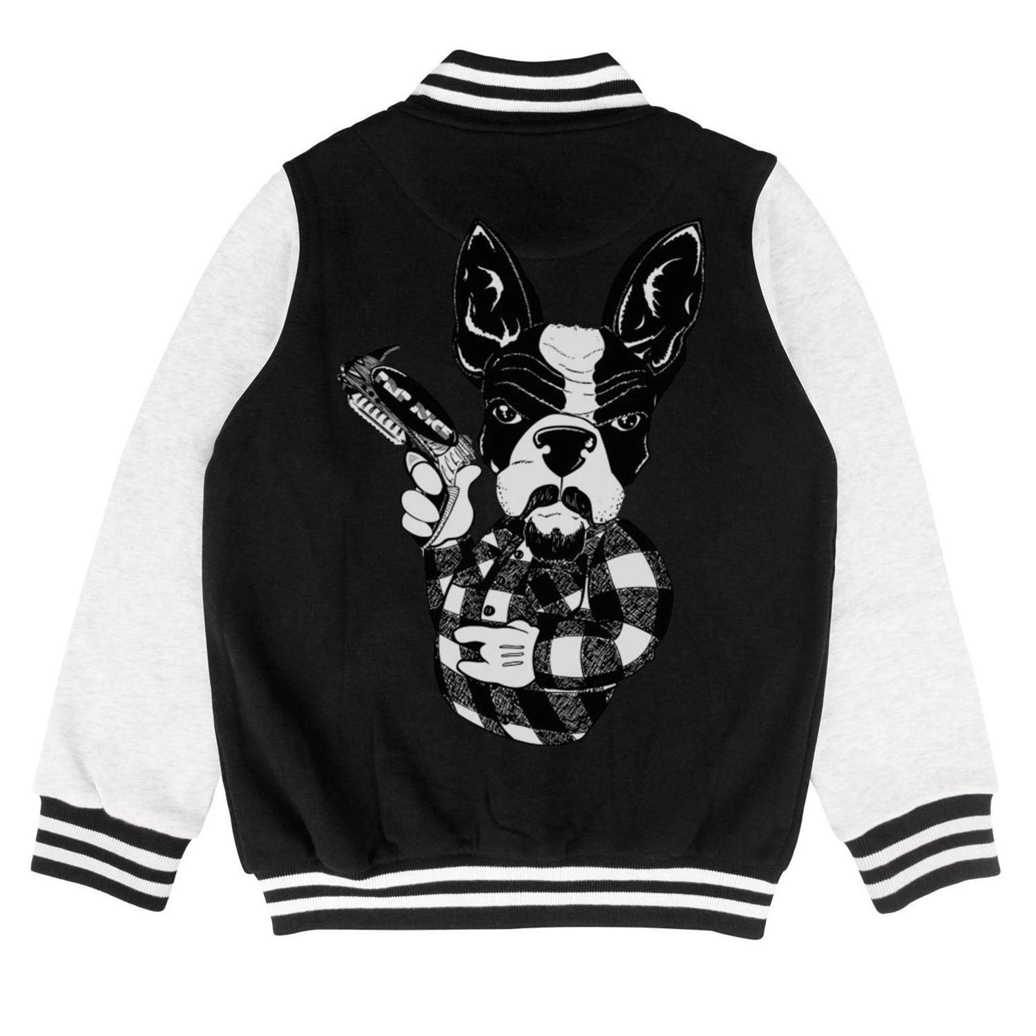 PoPBelle Kids Pug Dog Roll with It Children Baseball Jacket for Girls Boys Baby Cotton Coats