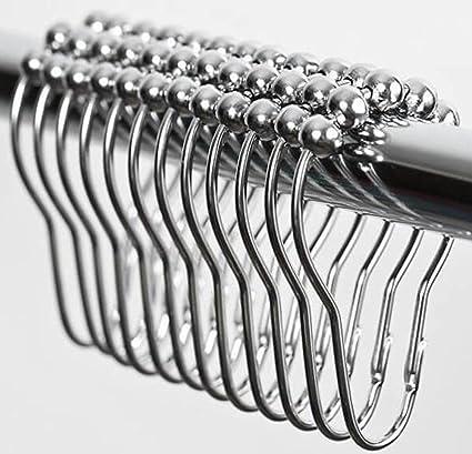 Easy Install Rustproof Shower Curtain Hooks   Frictionless Stainless Steel  Metal   Easy Glide Shower Rings