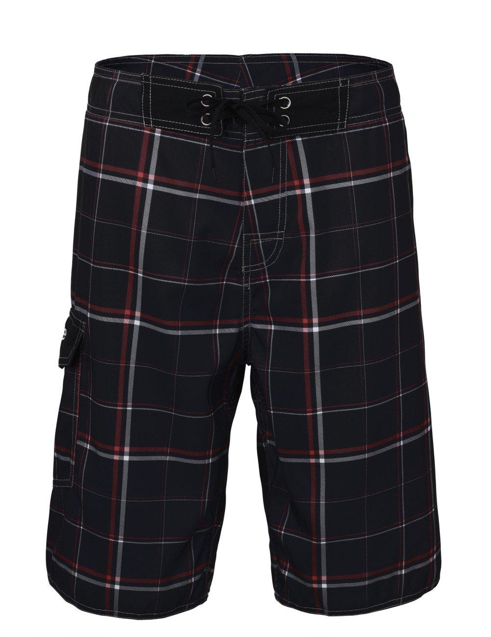 Nonwe Men's Beachwear Quick Dry Plaid Pattern Swim Shorts Black 34
