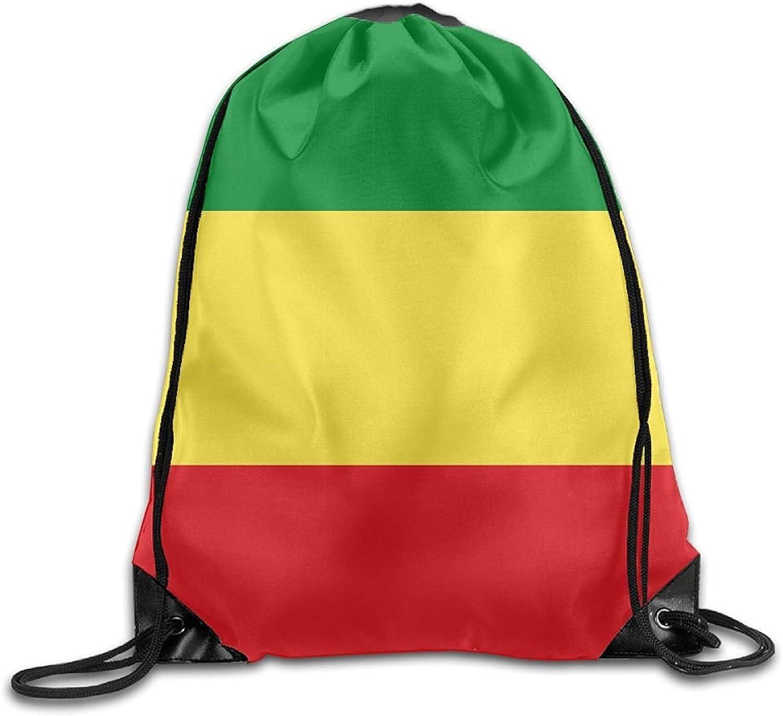 Ethiopian Flag Cute Gym Drawstring Bags Travel Backpack Tote School Rucksack