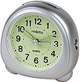 Vedette - VR10057 - Réveil Plastique - Quartz Analogique - Gris Métallisé - Cadran Phosphorescent - Trotteuse Silencieuse - Lumière - Alarme